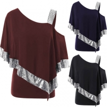 Tee-Shirt Ample Doux à la Mode Sexy Epaule-Oblique avec les Détails Pailletés