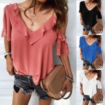 Sexy Off-shoulder Lotus Sleeve V-neck Solid Color Blouse