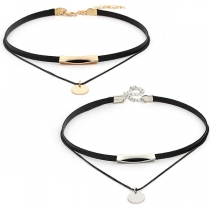 Fashion Round Sheet Pendant Dual-layer Choker Necklace