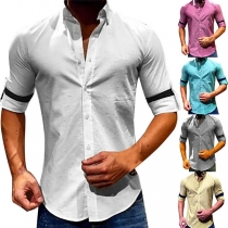 Simple Style Solid Color Long Sleeve POLO Collar Men's Shirt