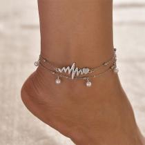 Ensemble de 2 Pièces Bracelets de Cheville en Perles Synthétiques de Mode