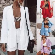 Deux-Pièces Stylé à la Mode :Blazer à Manches Longues+Short à la Taille Haute