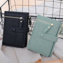 Fashion Solid Color Three-fold Wallet