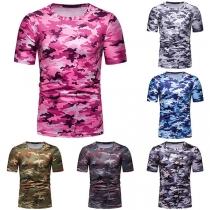 Fashion Round Neck Short Sleeve Camouflage Printed Man's T-Shirt