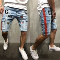 Fashion Embroidery Spliced Side-pocket Man's Knee-length Denim Shorts