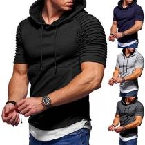 Tee-Shirt Stylé à la Mode à Capuche à Manches Courtes Pour les Hommes