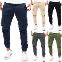 Fashion Solid Color Side-pocket Man's Casual Pants