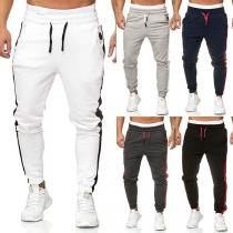 Pantalon Stylé à la Mode en Couleur Contrastée Pour les Hommes