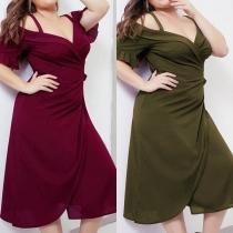 Sexy Off-shoulder V-neck Short Sleeve Plus-size Sling Dress