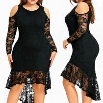 Mode Grande Taille---Robe Noire Elégante à la Mode Sexy Epaules Dénudées avec l'Ourlet Haut-Bas