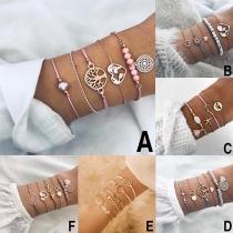 Bijou pour Femmes---Ensemble de Bracelet 4-Pièces Chic à la Mode Stylé