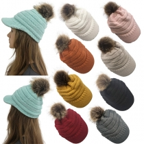 Fashion Solid Color Hairball Spliced Knit Cap