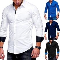 Chemise Stylée à la Mode au Col POLO à Manches Longues