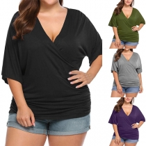 Sexy V-neck Short Sleeve Solid Color Plus-size T-shirt