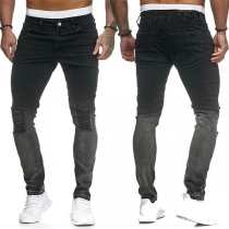 Fashion Middle Waist Slim Fit Ripped Man's Jeans