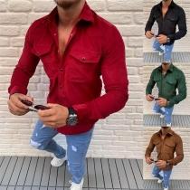 Tee-Shirt Stylé à la Mode au Col POLO à Manches Longues Pour les Hommes