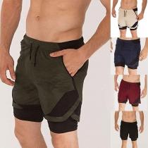 Fashion Contrast Color Elastic Drawstring Waist Man's Sports Shorts