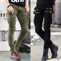 Fashion Solid Colo Side-pocket Front-zipper Man's Pants