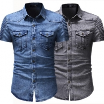 Fashion Short Sleeve POLO Collar Man's Denim Shirt