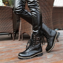 British Style Thick Heel Round Toe Lace-up Martin Booties
