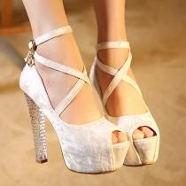 Chaussures à Talons Hauts à Semelles Compensées Sexy Brillantes à la Mode