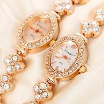 Fashion Rhinestone Oval Dial Bracelet Watch