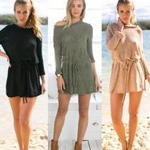 Tunique de Sweater Elégante à la Mode à Manches Longues Froncée à la Taille en Tricot