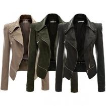 Veste de Motard Cool à la Mode à Manches Longues à Revers en Cuir Synthétique(Un Style Léger)
