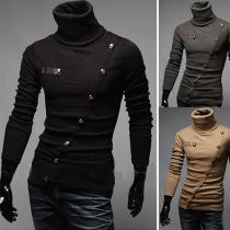 Sweater Décontracté à la Mode au Col Rabattu en Tricot Pour les Hommes