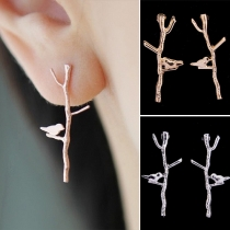 Boucles d'Oreilles en forme de Branche Couleur Or/Argent Mode Bijoux pour Femmes