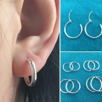 Simple Style Silver-tone Hoop Shaped Stud Earrings