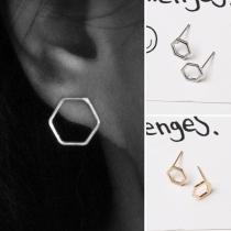 Simple Style Hexagon Shaped Alloy Stud Earrings