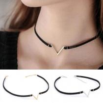 Simple Style V-shaped Pendant Choker Necklace