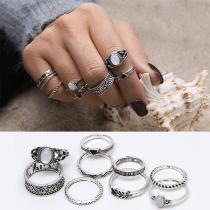 Retro Style Imitation Gem Inlaid Ring Set 9 pcs/Set