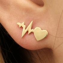 Boucles d'Oreilles Chic Stylées à la Mode avec un Design d'Electrocardiogramme