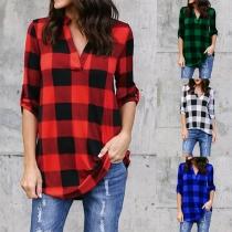 Tee-Shirt Doux à la Mode Encolure V Ample à Manches Longues à Carreaux