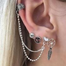 Boucles d'Oreillles/Bijoux / Accessoires Pour Femmes Chic à la Mode 4-Pièces avec une Chaîne