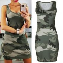 Robe Stylée à la Mode Sexy à Imprimés de Camouflage Sans Manches