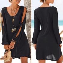 Robe Noire Ample à la Mode Sexy à Manches Longues