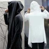 Hip-hop Style Solid Color Long Sleeve Hooded Men's Cardigan(Un Style Léger/Sans Zip/Sans Poche)