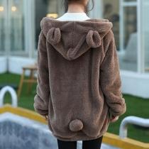 Veste Douce Ample à la Mode Mignonne à Manches Longues à Capuche en Pilou
