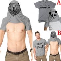 Tee-Shirt Stylé à la Mode à Imprimés à Manches Courtes Pour les Hommes