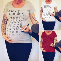 Tee-Shirt Doux Stylé à la Mode à Imprimés de Lettres Pour les Femmes Enceintes
