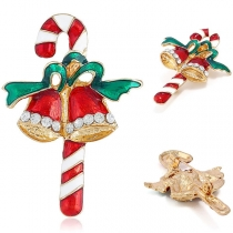 Cute Style Rhinestone Inlaid Christmas Bell Shaped Brooch