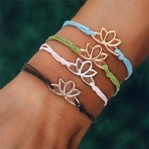 Fashion Lotus Flower Braided Bracelet