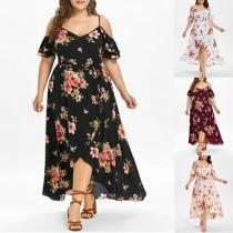 Sexy Off-shoulder V-neck Slit Hem Oversized Plus-size Sling Printed Dress