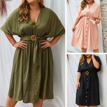 Fashion Half Sleeve V-neck Oversized Plus-size Dress
