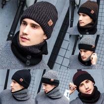 Fashion Knit Beanies + Scarf + Gloves Three-piece Set