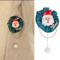 Cute Style Imitation Pearl Pendant Santa Claus Shaped Brooch