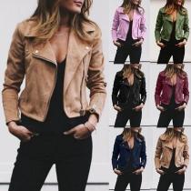 Veste Stylée à la Mode à Revers à Manches Longues avec une Zip Oblique